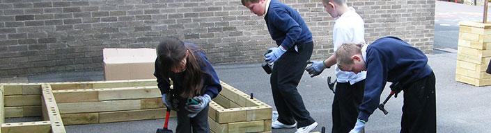 school garden wooden raised bed
