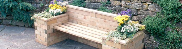 wooden bench with planter