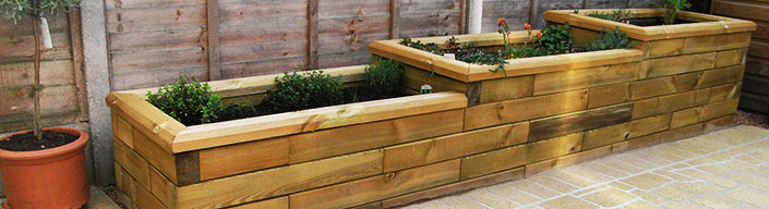 Stepped Raised wooden Bed