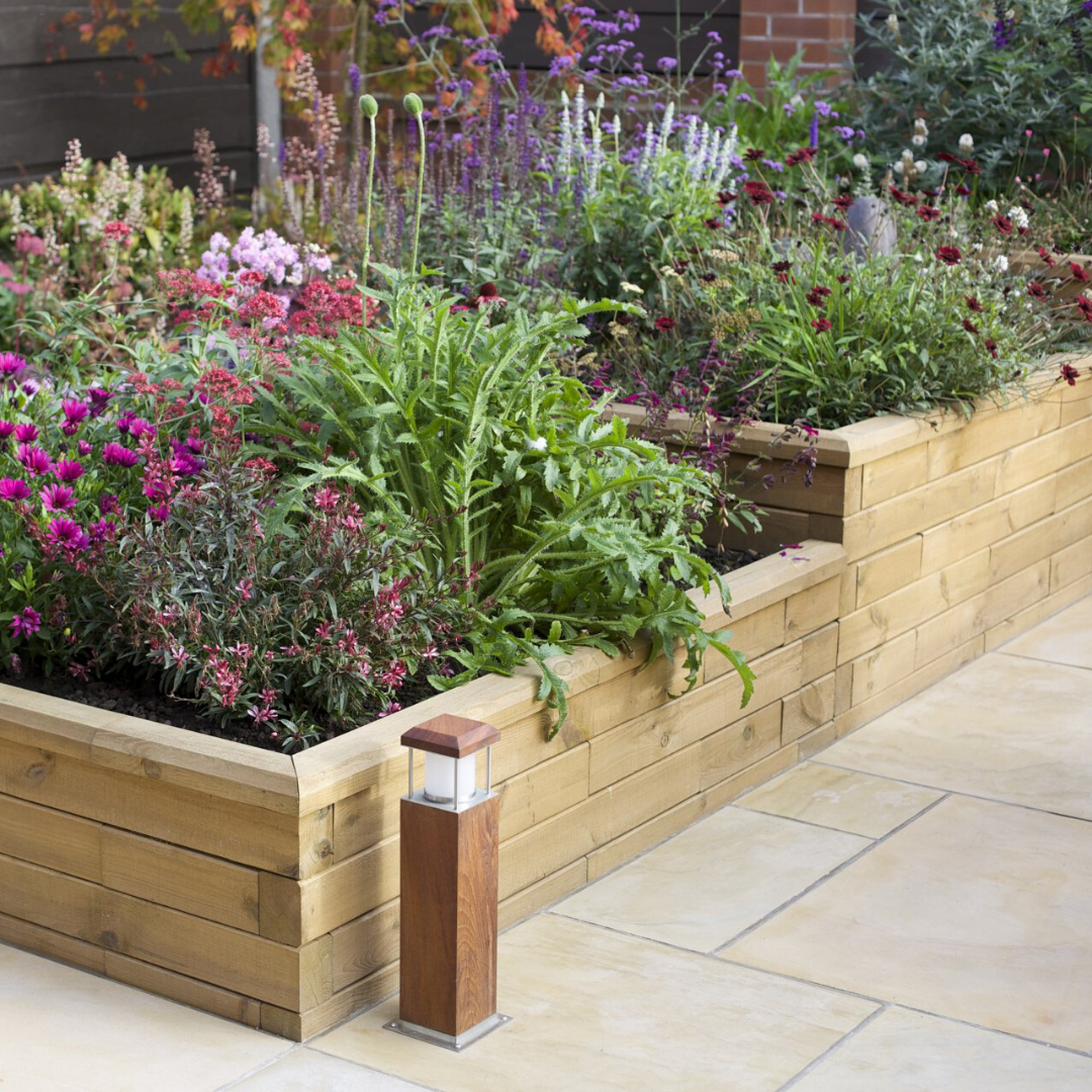 WoodBlocX stepped raised bed