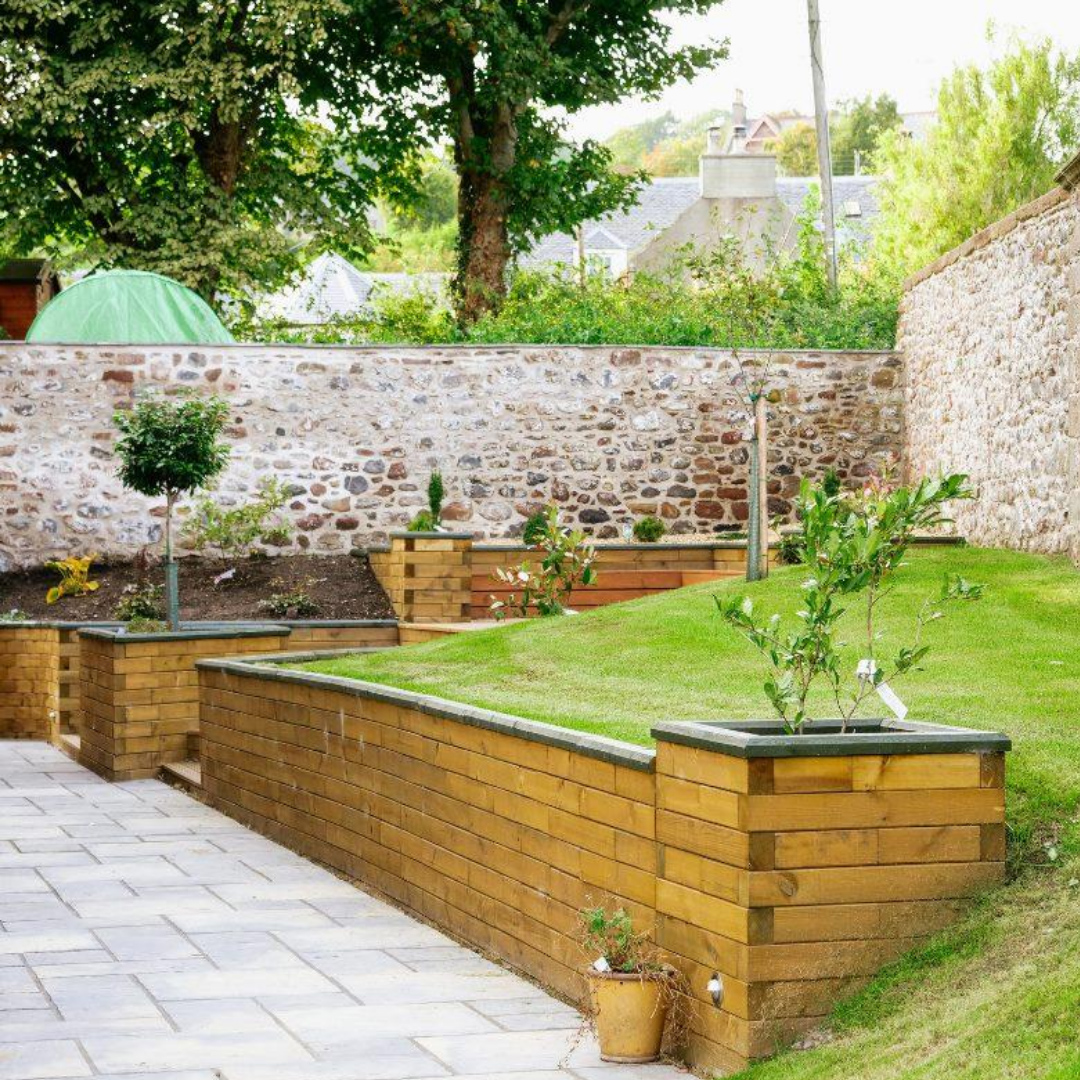 WoodBlocX retaining wall and stepideas