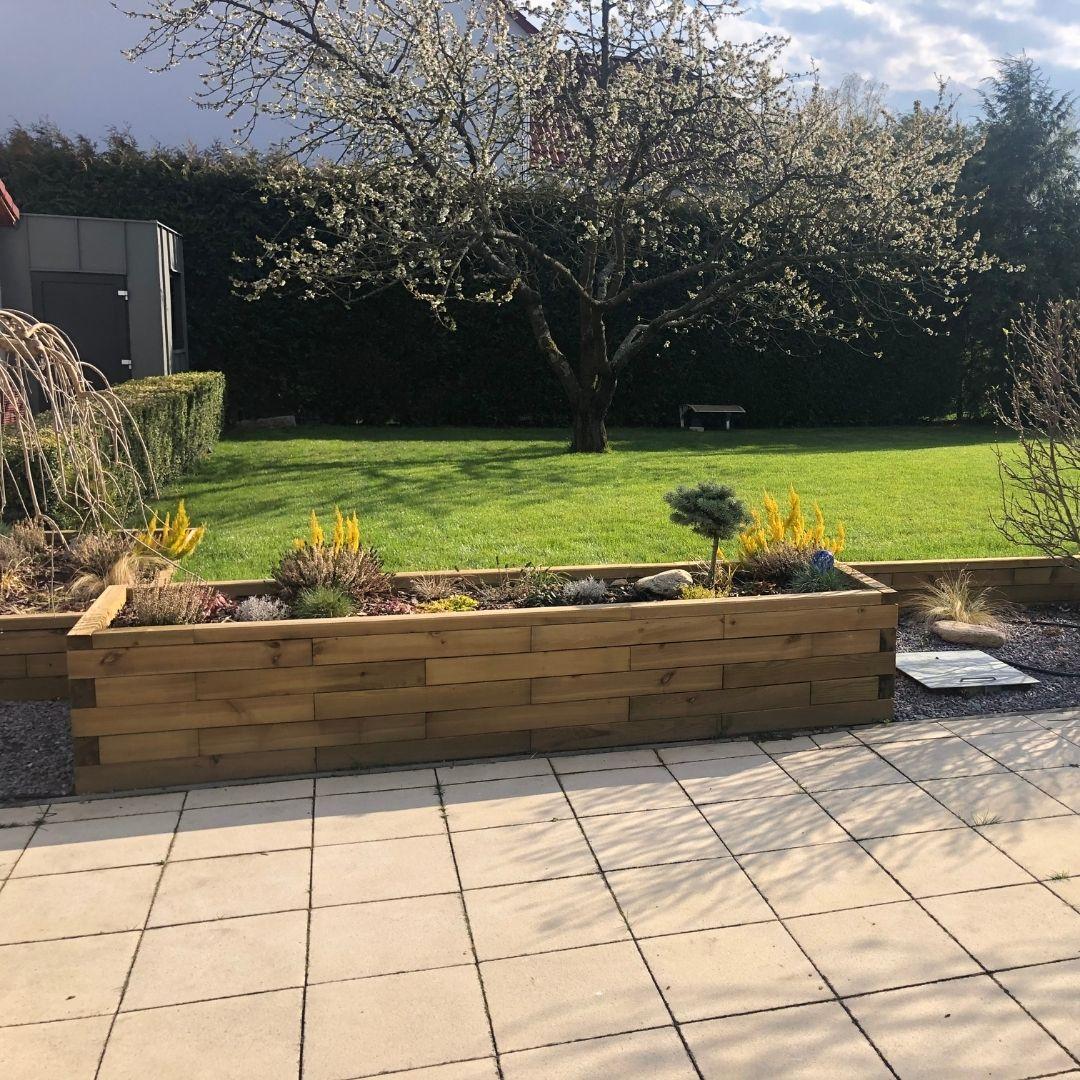 Raised garden bed on patio