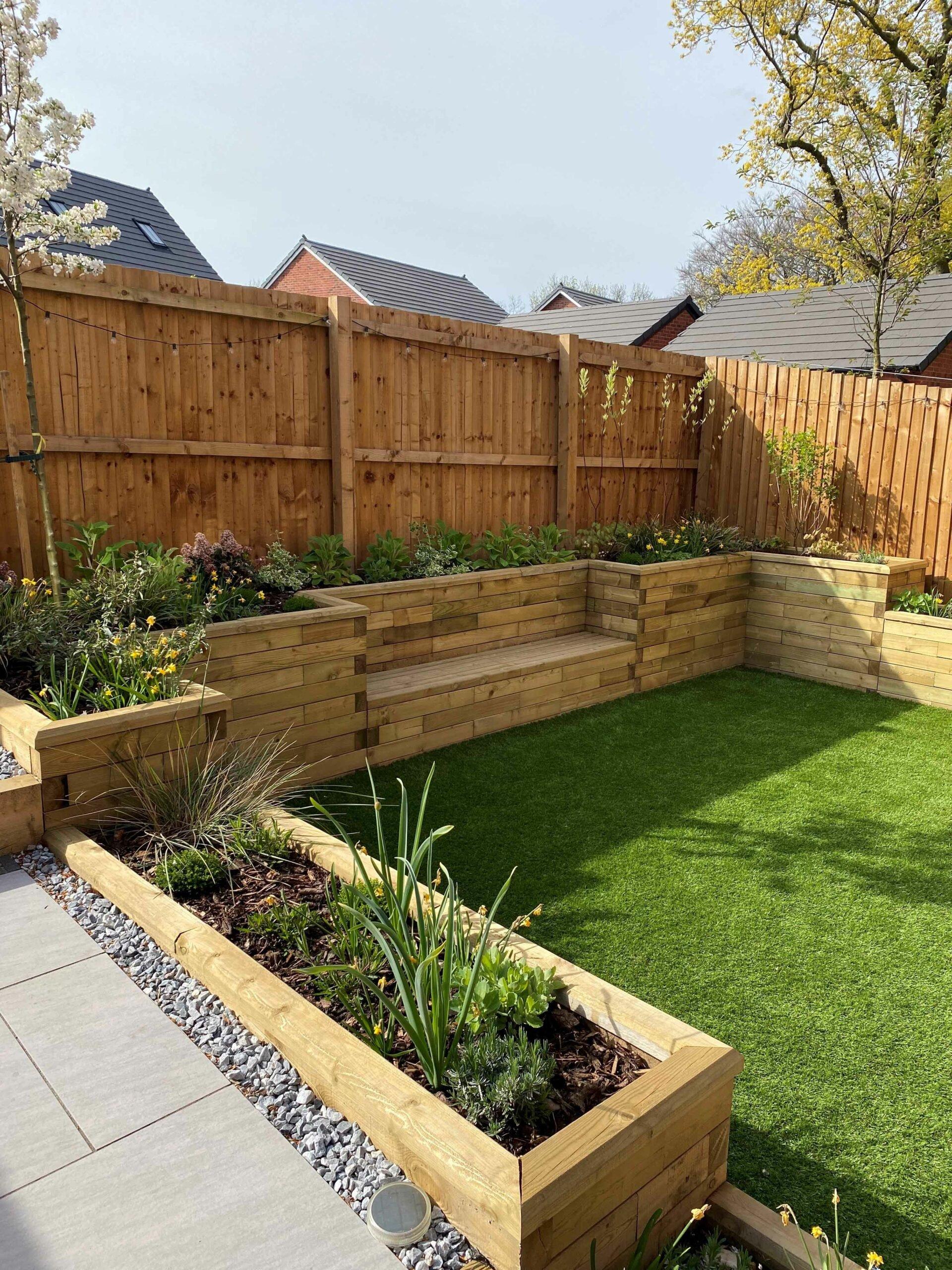 sloped garden design - new build
