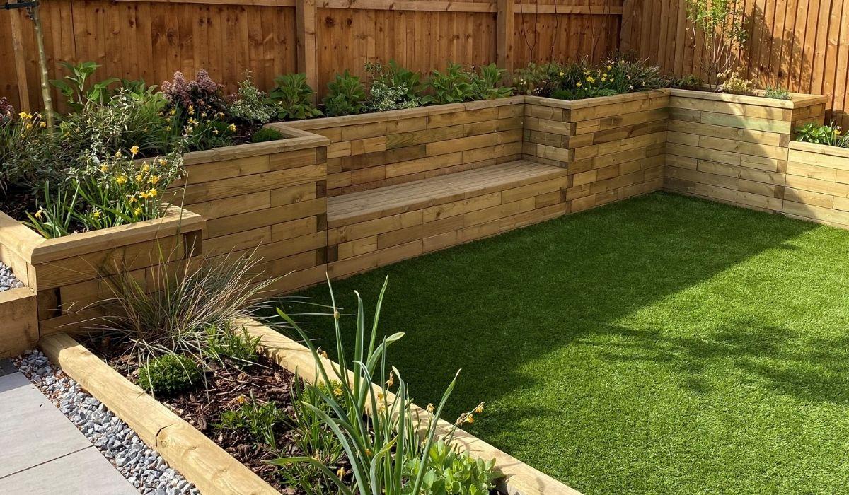 sloped garden design - new build garden